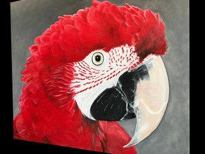 Green Wing Macaw Ölgemälde (VERKAUFT)